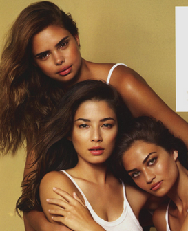Australia is diverse, Australia is beautiful. L - R : Samantha Harris, Jessica Gomes, Shanina Shaik. Image Source: Sunday Magazine