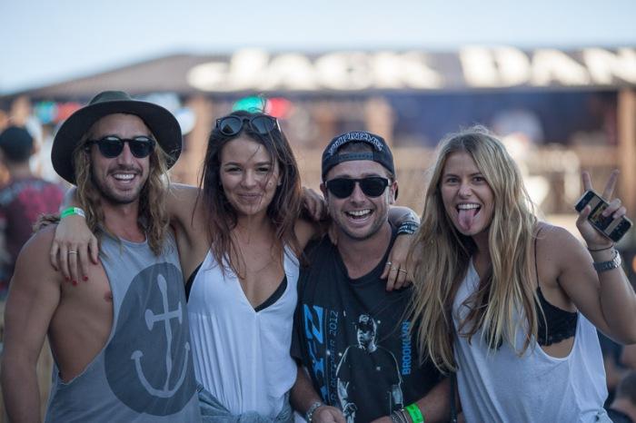 Pro skateboarder Corbin Harris and friends enjoy the Future music festival in the Jack Daniels White Rabbit Saloon