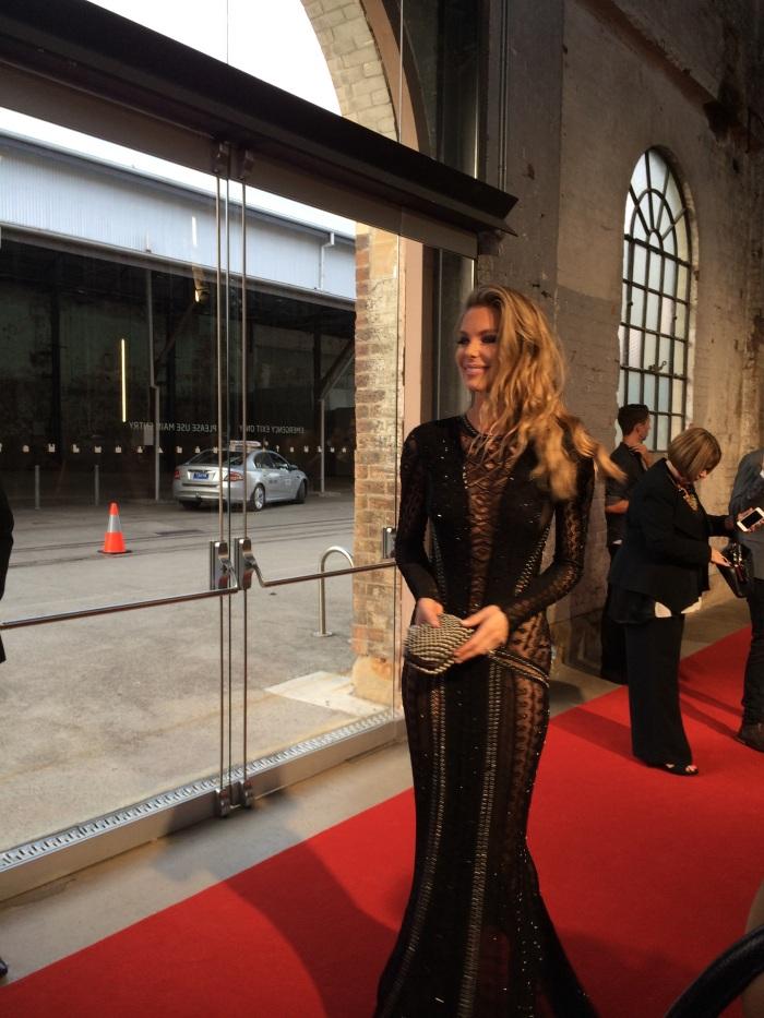 Jennifer Hawkins sizzling in a sleek Roberto Cavalli gown