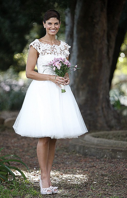 Zoe Ventoura wore a Leonie Grace dress for onscreen wedding as Melissa Rafter on Packed To The Rafters Image Source: Channel Seven