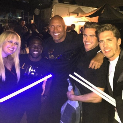 Pictured L to R: Rebel Wilson, Kevin Hart, Dwayne 'The Rock' Johnson, Zac Efron and Hugh Sheridan Image Source: Hugh Sheridan Instagram