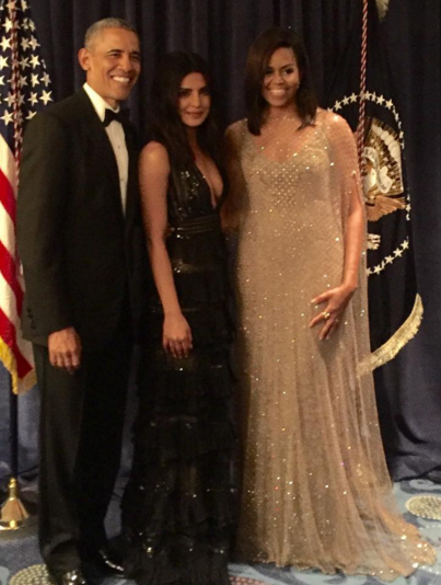 Priyanka Chopra with US President Barack Obama and First Lady Michelle Obama Image Source: Priyanka Chopra Instagram