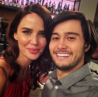 Takaya with Neighbours co-star Jodi Anasta Image Source: Takaya Honda Instagram