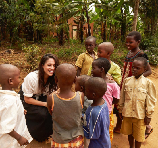 Meghan during a recent trip to Rwanda for World Vision