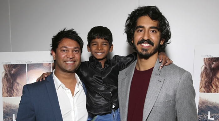 Saroo Brierley, Sunny Pawar & Dev Patel Source: Getty